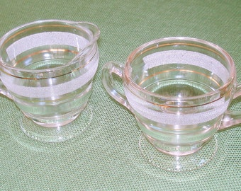 Etched Glass Creamer & Sugar Bowl Vintage Matching Set Gold Accents Excellent Condition