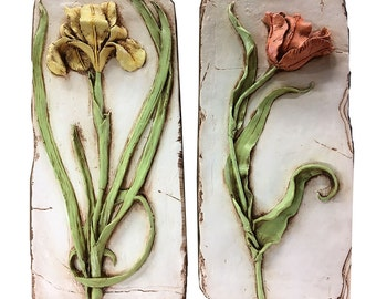 Sculpted Flowers Wall Plaque set of 2