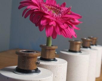 Concrete and Metal Bud Vase. Cement Flower Vase. Pretty, but tough.