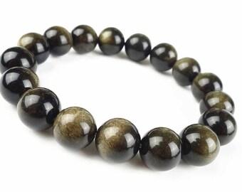 Gold Obsidian Bracelet, Obsidian Bracelet, Mens Beaded Bracelet, Womens Bracelet, Obsidian Mala Bracelet, 10mm Gemstone Bracelet, Wrist Mala