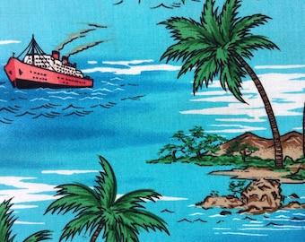SALE - One Half Yard of  Fabric Material - Tropical Travel Aqua Blue