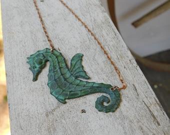 The Green Seahorse. Verdigris copper Sea Horse Boho Necklace
