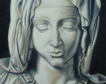 Original Pieta drawing - Memorial artwork - Michelangelo art - Virgin Mary - Wall decor - Madonna -  Religious artwork - Original Artwork