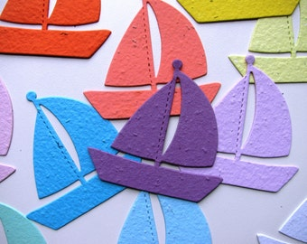 25 Seed Paper Sail Boats
