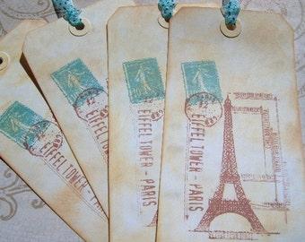 Paris Stil Gift Tags - 4 Ex-Large Travel Geschenk Tags - Paris Frankreich Vintage Stempel - Vintage-Stil Geschenk - Hand gestempelt und gehärtet