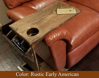 Rustic Couch Table C Table Wooden Side Table (EARLY AMERICAN) Sofa Side Table Couch Tray Table Sofa table with Optional Storage
