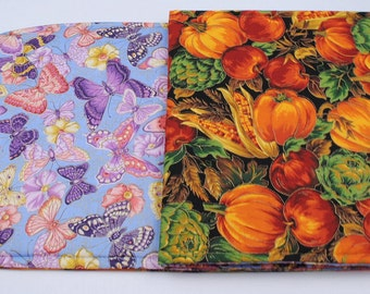 Butterfly/Pumpkin Table Runner, Summer/Fall Table Cloth,Reversible, Quilted, Handmade, 42 in. x 11 in.