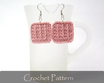 CROCHET PATTERN - Crochet Square Earrings Geometric Earrings Tutorial Crochet Applique Earrings Pattern Fabric Jewelry PDF - P0020