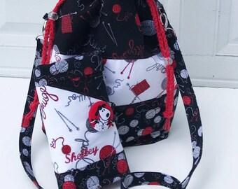 Knitting Bag, Knitting Case, Knitting Bag & Case, Project Bag, Yarn Bag, Drawstring Bag, Knitting Organizer, Knitting Roll, Sheep