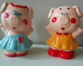 Vintage Ceramic Coin Bank Happy and fun little piglets piggy bank from 1980th