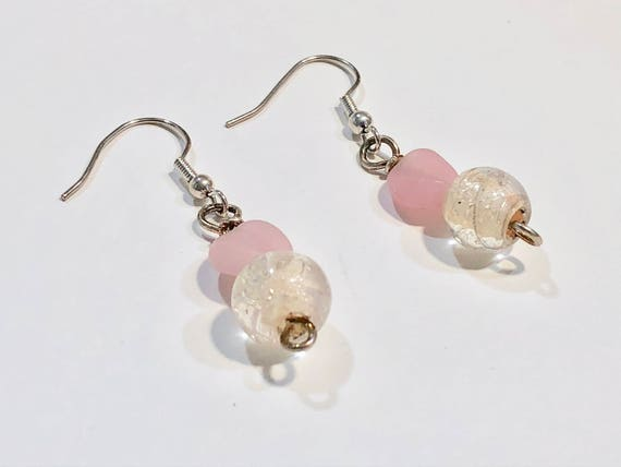 SJC10025 - Handmade pink and translucent glass bead earrings with silver color metal ear wires