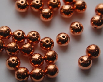 Vintage Copper Coated Round Beads 10mm (12) bds920B