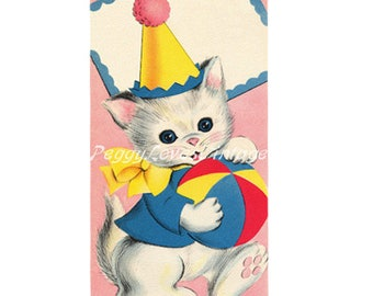 Animals 6 a Sweet Birthday Kitten with Sentiment Tag a Digital Image from Vintage Greeting Cards - Instant Download