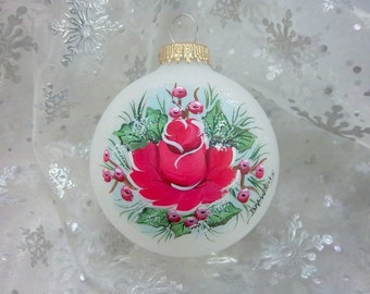 Christmas Rose Ornament, Hand-Painted Glass Ornament, Red Rose, Holly and Berries, Free Inscription, Keepsake, Christmas Gift