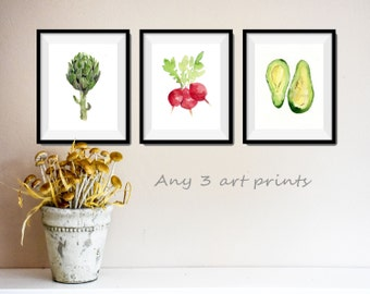 Any 3 art prints, pick your three art prints, Watercolor prints, mine Art collection, kitchen art, nursery decor, wild life, botanical print