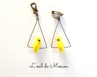 Clip earrings designer canary yellow bird on wire