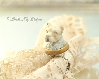 Boxer Dog Ring Vintage Antique Bisque Dog Head Assemblage Ring Fine Silver Plated Lorelie Kay Original