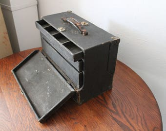 Antique tool box handmade brass industrial work box artist craftsman leather tooling machinist 1900s