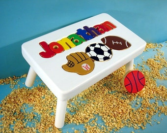White Personalized Sports Step Stool