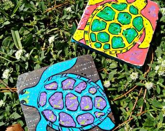 Sea Turtle trivet spoon rest hand painted tile