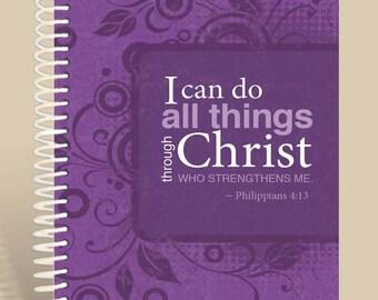 Philippians 4:13 Purple / Personalized Notebook / Prayer Journal