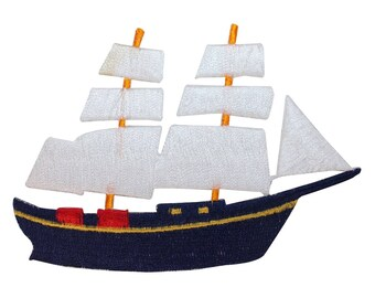 ID 1877 Sailboat Patch Cruise Ship Nautical Toy Embroidered Iron On Applique