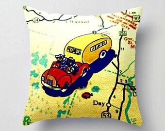 Retro Camper Pillow Cover, Tiny House Decor Travel Trailer Decor, Decorative Throw Pillow