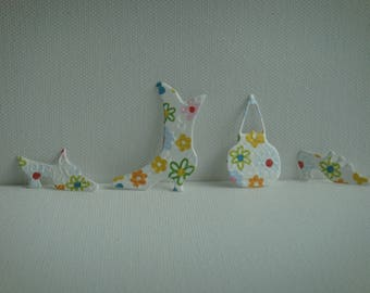 Set of 3 shoes and 1 bag of paper flowers for scrapbooking and card