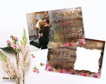 Printable Save the Date Template - Save the date printable - Save the date postcard template Floral Save the date printable rustic postcard