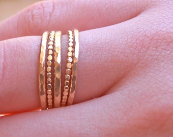 5 stackable wide gold rings, 14k gold fiiled 5 rings set -   Hammered  soldered ring made to order