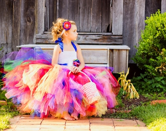 Rainbow Love- Rainbow flower girl tutu dress with removeable sash satin singed flower perfect for Rainbow Colorful themed Weddings