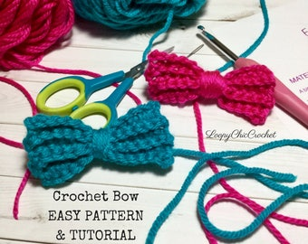EASY Crochet Bow Pattern & Tutorial, Crochet Bow Pattern for Beginners