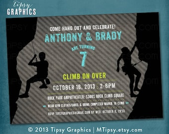 Climb Over. Joint Rock Climbing Birthday Party Invite for 2 Big Kids by Tipsy Graphics. Joint Double Twins
