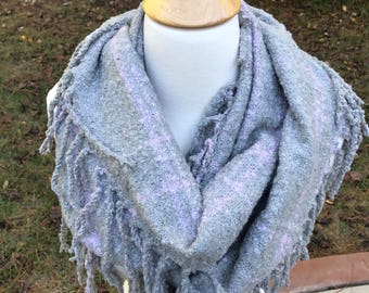 Gray and Lavender Tassel Infinity Scarf