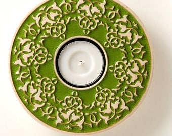 ceramic candle holder No.1 green