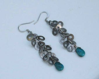 Faceted turquoise on sterling silver shimmer earrings