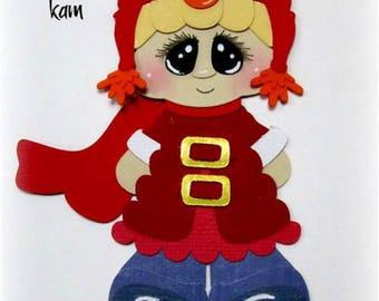 Elite4u Kam Premade Blonde Hair Boy Elmo Hat Paper Piecing Die Cut For Scrapbook Page Layout