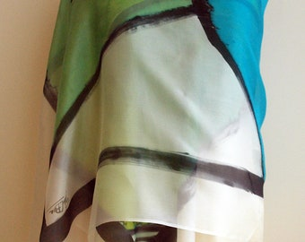Hand Painted Silk Scarf. Mondrian style large silk scarf. gifts. Hand Painted Silk Shawl. 78x36 in (200x90 cm). Wedding Gift. Giveaways