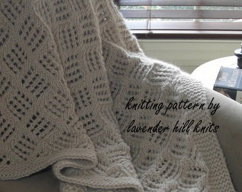 Knitted Throw Blanket - PDF Knitting pattern for blanket afghan - easy pattern no charts - wedding housewarming gift
