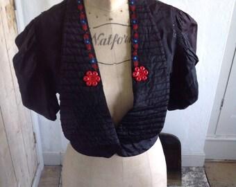 1940s black taffeta bolero size 8