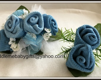 Baby Shower Corsage-Baby Shower Gift-Baby Sock Corsage and boutonniere-Baby Shower-Baby Shower Favor-Baby Shower Decoration-Boy Sock Corsage
