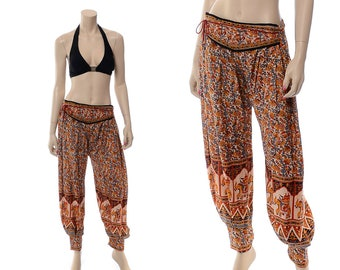 Vintage 70s 80s India Harem Pants 1970s 1980s Indian Gold Elephant and Floral Print Gypsy Boho Hippie Festival Button Ankle Pant / One Size