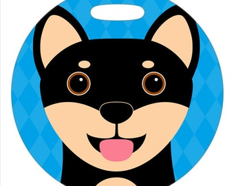 Luggage Tag - Shiba Inu Black and Tan - Round Plastic Bag Tag
