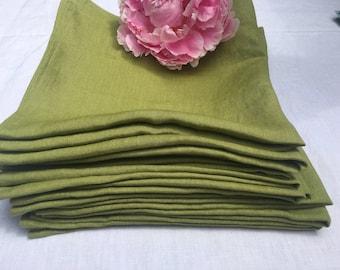 linen napkins set - Dinner linen napkin set of 4, 6, 8, 10, 12 - Softened handmade napkins  - Avocado green linen dinner napkins.
