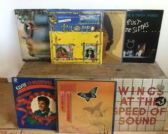 7 Vintage Rock Records George Harrison Heart Elvis Paul Cartney Neil Young Wings