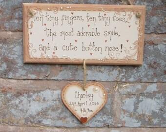 New baby plaque, nursery decor, new baby gift, baby boy gift, baby girl gift, baby's room, nursery decoration, personalised baby keepsake