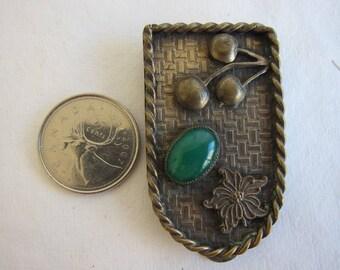 Antique, Art Deco, Brass Dress or Fur Clip with Chrysoprase Cabochon - More Photos Always Available, Please see Description