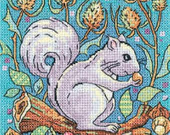 Heritage Crafts - Grey Squirrel Cross Stitch Kit from the Woodland Creatures Collection by Karen Carter