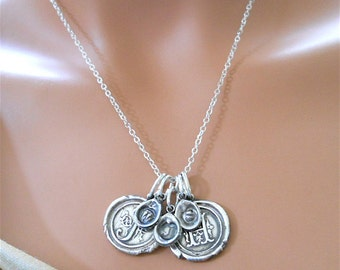 Wax Seal Jewelry Personalized Silver Initial Necklace - Family Tree Necklace - INCLUDES 5  Initials - Antique Jewelry