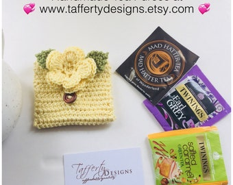 Crocheted Tea Travel Purse / Tea Purse / Tea bag Holder / Tea Wallet - in Pure Cotton - Yellow